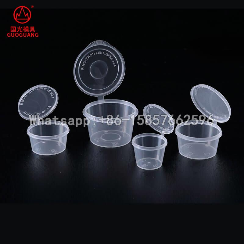 thin wall sauce cup hinge cup medicine cap with lid